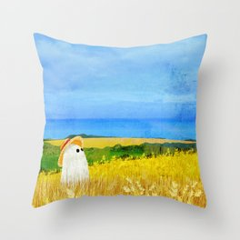 There's a Ghost in the Wheat Field Throw Pillow