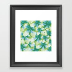 Blue Plumeria Floral Watercolor Framed Art Print