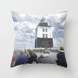 Poe Reef Lighthouse Tour Throw Pillow