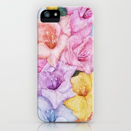 COLORFUL GLADIOLAS in WATERCOLORS iPhone Case
