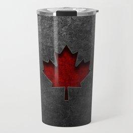 Canadian Flag Stone Texture Travel Mug