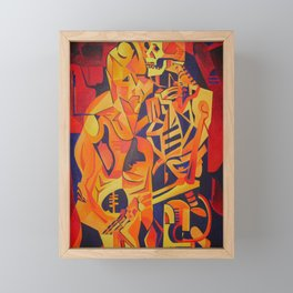 A Skeleton and Corpse Embracing Death Framed Mini Art Print
