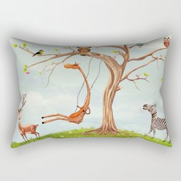 Tree with animals.Bunch of cute little creatures gathered on the branches of tree Rectangular Pillow