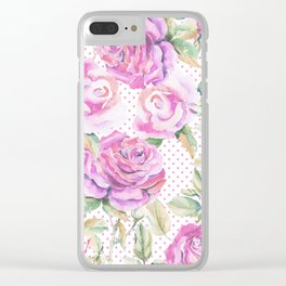 Watercolor hand painted pink lavender roses polka dots Clear iPhone Case