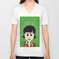 amelie V-neck T-shirts featuring Amelie Poulain by Camila Oliveira