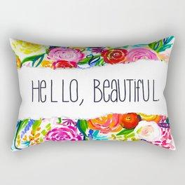 Neon Summer Floral + Hello Beautiful V2 Rectangular Pillow