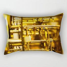 golden clockwork with gears Rectangular Pillow