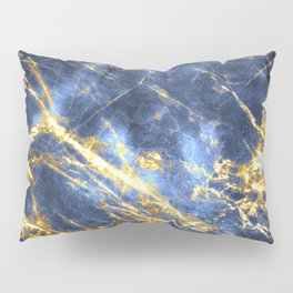 Ornate, Classic Gold and Sapphire Marble Pillow Sham