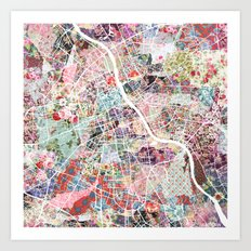 Warsaw map Art Print