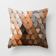 Triangles Brown Gray Throw Pillow