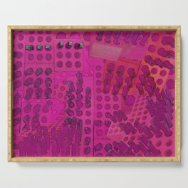 I Love You Letter Punches Abstract Pink Serving Tray