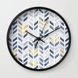 Herringbone chevron pattern.Indigo faux gold acrylic canvas Wall Clock