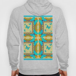 Turquoise Butterflies Creamy Patterns Hoody
