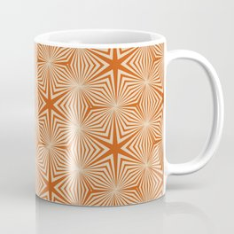 Art Deco Orange Star Motif Geometric Vintage Pattern Coffee Mug