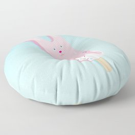 pink bunny ice lolly Floor Pillow