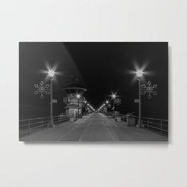 Early Morning Lights on Huntington Beach pier Metal Print