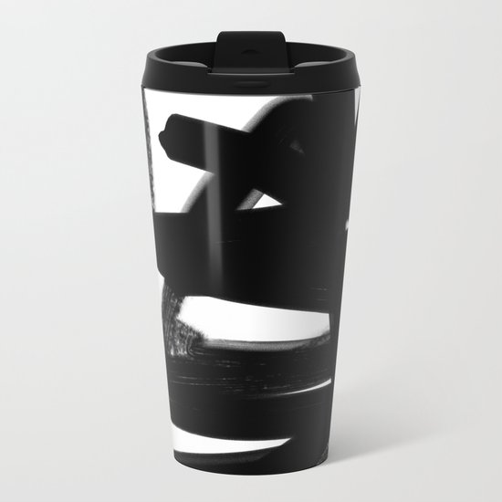 Thinking Out Loud - Black and white abstract painting, raw brush strokes Metal Travel Mug
