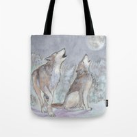 wolves Tote Bags featuring Wolves by Jen Hallbrown