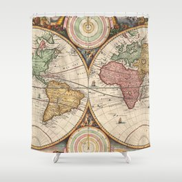 Vintage Map of The World (1730) Shower Curtain
