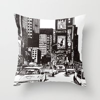 new york Throw Pillows featuring New York New York by Bianca Green