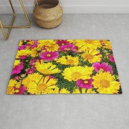 YELLOW COREOPSIS & FUCHSIA GARDEN FLOWERS Rug