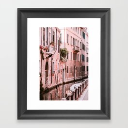 Venice pink canal with old buildings travel photography Framed Art Print