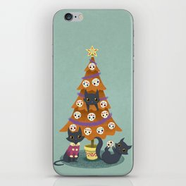 Meowy christmas sugar skulls iPhone Skin
