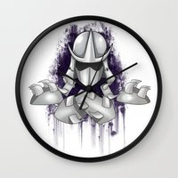 ninja turtle Wall Clocks featuring Shredder -Teenage Mutant Ninja Turtle by Roe Mesquita