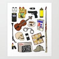 sherlock Art Prints featuring Sherlock by Shanti Draws