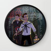pacific rim Wall Clocks featuring Gottlieb and Geiszler - Pacific Rim by Lydia Butz