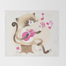 Miko playing ukulele Throw Blanket