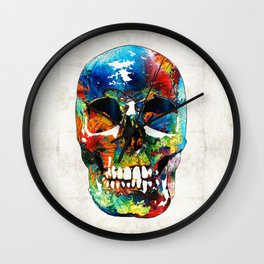 Colorful Skull Art - Aye Candy - By Sharon Cummings Wall Clock
