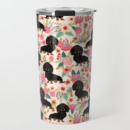 Doxie Florals - vintage doxie and florals gift gifts for dog lovers, dachshund decor, black and tan Travel Mug
