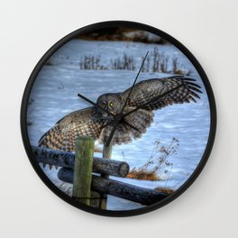 Great Grey Arriving Wall Clock
