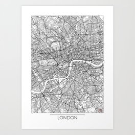 London Map White Art Print