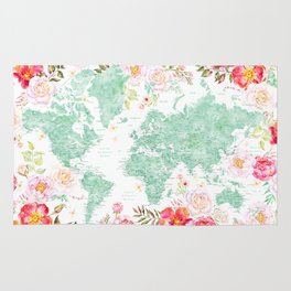 Mint green and hot pink watercolor world map with cities Rug