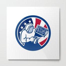American Beekeeper USA Flag Icon Metal Print