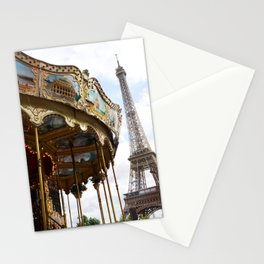 Paris Eiffel Tower Carousel - Paris Eiffel Tower and Carousel - Eiffel Tower Merry Go Round Stationery Cards
