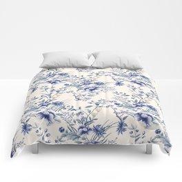 Chinoiserie Flowers Blue on Seashell Comforters