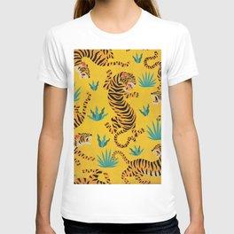 Wild Tigers on Sunshine Yellow - Kitschy Jungle Nature Pattern T-shirt