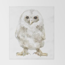 Baby Tawny Owl Watercolor Throw Blanket