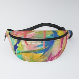 Wild Child: a colorful, vibrant abstract piece in neon and bold colors Fanny Pack