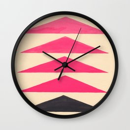 Colorful Pink Geometric Triangle Pattern With Black Accent Wall Clock