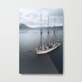 Sailing Ship in front of a Mountain Valley in Norway Metal Print