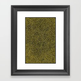 Black and faux gold swirls doodles Framed Art Print