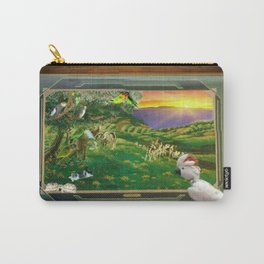 """Springtime Grazing in Napa Valley 24"""" x 36"""" oil over clay with illustrations of our rescued parrots Carry-All Pouch"""