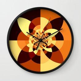 Orange Brown Kaliedoscope Wall Clock