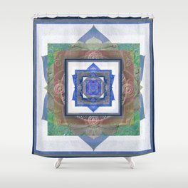Sacred Geometry Meditation Vortex in Boho Textures & Tones Shower Curtain