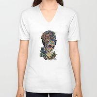 fitzgerald V-neck T-shirts featuring Marie de los Muertos by Cathy FitzGerald