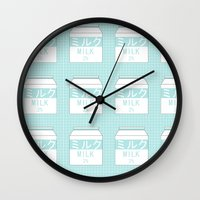 milk Wall Clocks featuring Milk by Lazy Queen